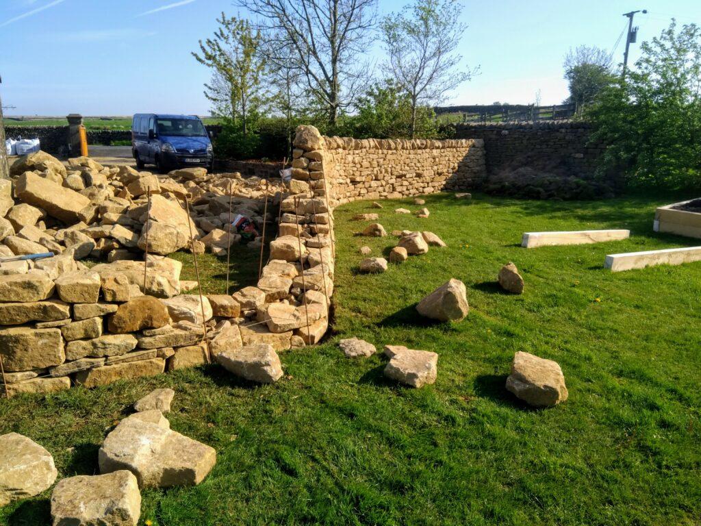 a dry stone wall near slaidburn half constructed